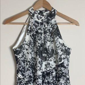 EUC WHBM black white chiffon midi dress